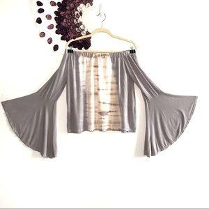 Sage Cream & Grey Tie Dye Off the Shoulder Top